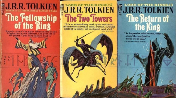 Jack Gaughan's triptych for the unauthorized edition of the LoTR 1