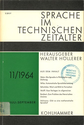 Walter Höller (Hrsg.) - Sprache im technischen Zeitalter, Nr. 11